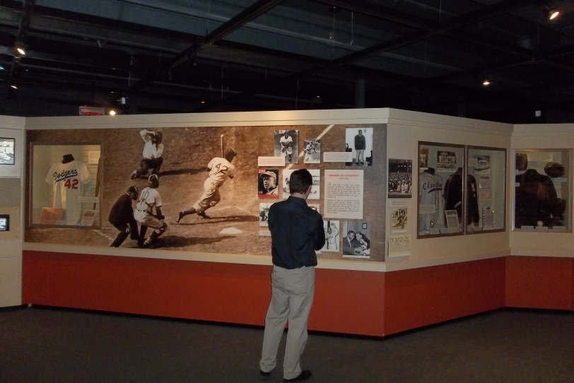 I spent much of my free time in the museum at the Jackie Robinson exhibit studying the photos of Robinson with the Montreal Royals. I didn't even know that Scott Crawford took this photo.