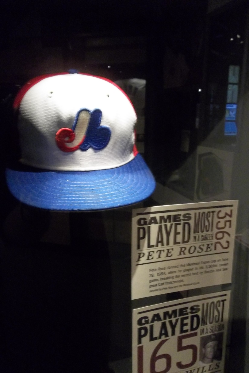 This is the Montreal Expos cap that Pete Rose wore when he played his 3,309th game on June 29, 1984 to pass Carl Yastrzemski's all-time record. (Photo: Courtesy of Scott Crawford)
