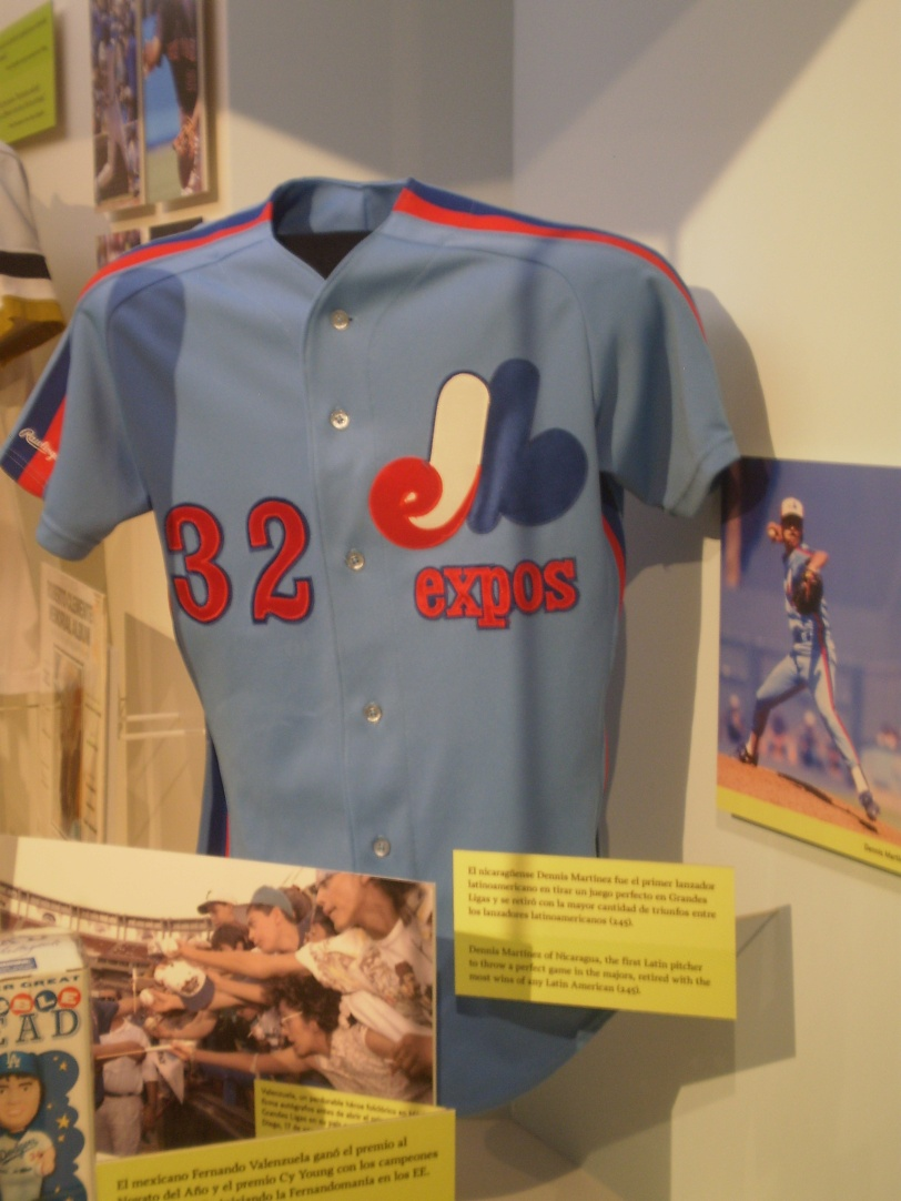 A game-worn Dennis Martinez Montreal Expos jersey. This was part of an exhibit paying tribute to Latino players.