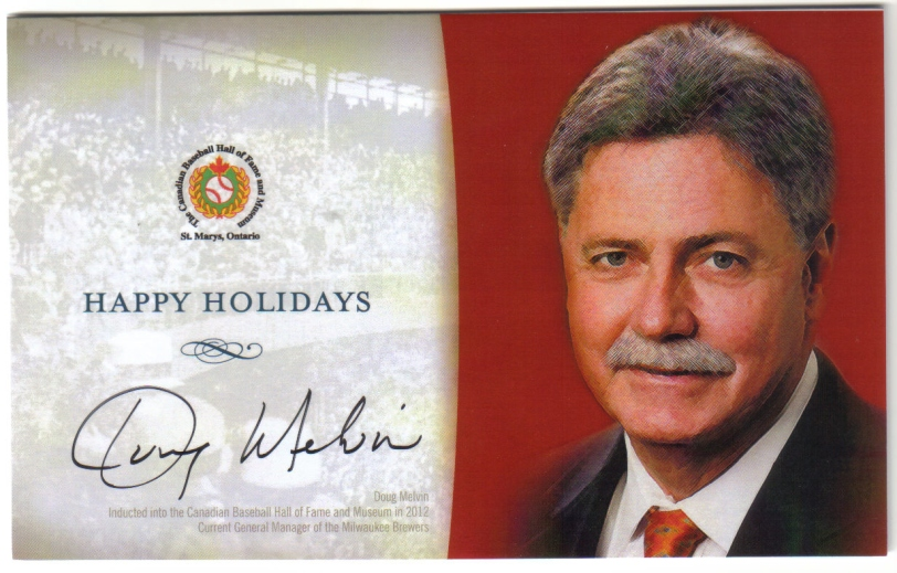 The Christmas card I received with my Canadian Baseball Hall of Fame membership this year.