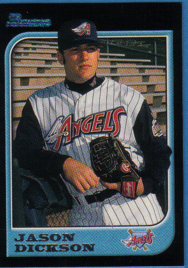 Canadian Baseball Card of the Week: 1997 Bowman Jason Dickson. Born in London, Ont., Dickson moved to Miramichi, N.B. when was seven. A standout talent as a teen, he was selected the Angels in the sixth round of the 1994 draft. In 1997, he won 13 games and was selected to play for the American League in the all-star game. Dickson is currently the vice-president of Baseball Canada and the administrator of a nursing home in Jemseg, N.B.