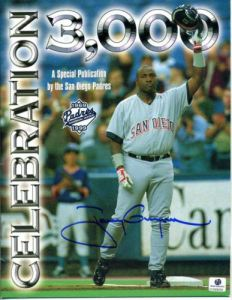 This is the cover of a San Diego Padres program commemorating Tony Gwynn's 3,000th hit, which he recorded at Olympic Stadium in Montreal.