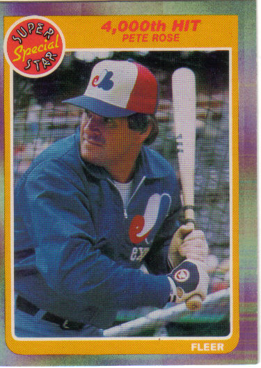 Canadian Baseball Card of the Week: 1985 Fleer Pete Rose – 4000th Hit. Though his tenure with the Montreal Expos lasted just 95 games, Pete Rose collected his 4000th career hit – becoming just the second big leaguer to achieve that feat – as a member of the Canadian club. On April 13, 1984, he hit a double off of Phillies southpaw Jerry Koosman at Olympic Stadium. One of the batting gloves that Rose wore for this historic hit is on display at the Canadian Baseball Hall of Fame in St. Marys, Ont.