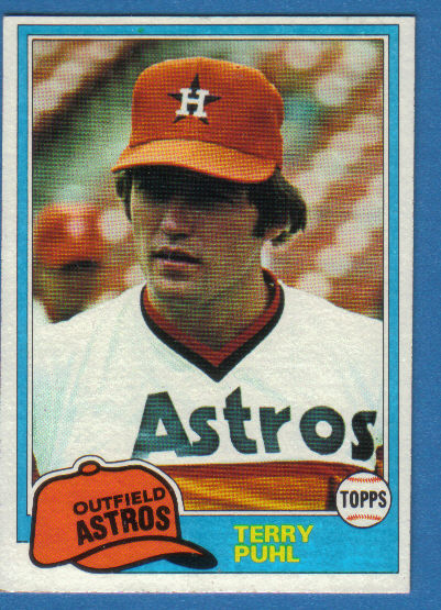 Canadian Baseball Card of the Week 1981 Topps Terry Puhl. This Melville, Sask., native made his big league debut in 1977 and hit .301 in 60 games. His steady offensive and defensive efforts earned him all-star honors in 1978, when he batted .289 and stole 32 bases. He topped that the following campaign, when he recorded a career-high 172 hits and played 157 games – the entire season – in the outfield without making an error. Puhl was at his best in the 1980 post-season, hitting .526 in the Astros' grueling, five-game National League Championship Series against the eventual World Champion Philadelphia Phillies. A consistent contributor for the Astros over the next decade, the sure-handed Canuck played his final season with the Kansas City Royals in 1991.