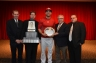 Four representatives of the Canadian Baseball Hall of Fame (from left to right: Phil Parkinson, Scott Crawford, John Starzynski, Paul Podsadecki) presented Joey Votto (middle) with the Tip O'Neill Award on Friday night. (Photo courtesy of the Canadian Baseball Hall of Fame)