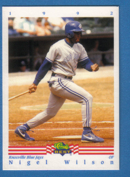 Canadian Baseball Card of the Week: 1992 Classic Nigel Wilson. This Oshawa, Ont., native was signed as a free agent by the Toronto Blue Jays in 1987. After advancing as high as Double-A in the Jays organization, he was the Florida Marlins' first pick in the 1992 expansion draft. He would play parts of three seasons in the big leagues with the Marlins, Reds and Indians, before being signed by the Nippon Ham Fighters in Japans. In parts of five seasons in Japan, he belted 119 home runs. He returned to North America after the 2002 and now serves as a baseball instructor at The Competitive Edge in Ajax, Ont.