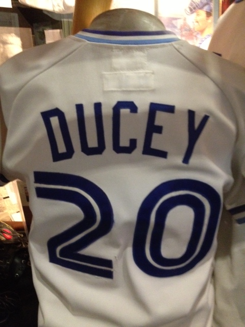 This is a game-worn jersey from Rob Ducey's first tenure with the Blue Jays from 1997 to early 1992.