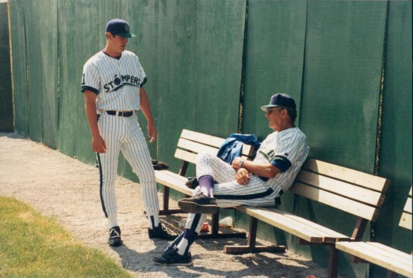 Young says that one of the best influences on his pitching career was longtime Toronto Blue Jays pitching coach Al Widmar (seated).