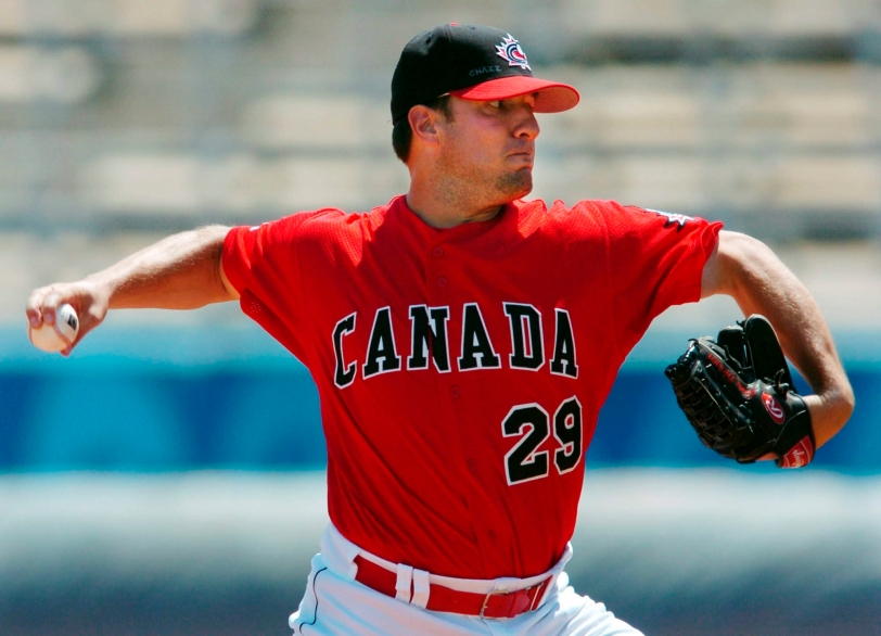 One of Dickson's best baseball memories was pitching in the 2004 Olympics. (Photo courtesy of Baseball Canada).