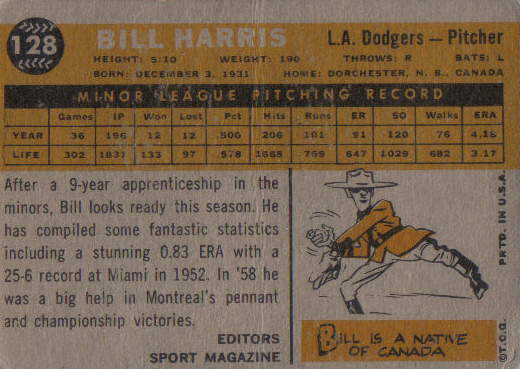 The back of Billy Harris's 1960 card. Note the obligatory Mountie cartoon.