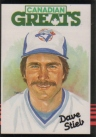 Canadian Baseball Card of the Week: 1985 Leaf Canadian Great Dave Stieb. An All-American outfielder when the Blue Jays selected him the 1978 amateur draft, Dave Stieb would evolve into the most successful pitcher in franchise history. With his focus solely on the mound, Stieb rocketed through the Jays system and made his big league debut on June 29, 1979.     After winning 17 games and setting club records by tossing 288.1 innings, 19 complete games and five shutouts, Stieb was named The Sporting News Pitcher of the Year in 1982. The intense righty would top the American League in innings (267) again in 1984, en route to a 16-8 season. Embracing his role as ace on the Jays' first division-winning squad in 1985, Stieb topped the American League with 2.48 ERA and started three games in the American League Championship Series. He would follow that up with three more seasons of 15 or more wins.     In all, Stieb was selected to seven all-star games and was named the Blue Jays Pitcher of the Year five times. After several near misses, the workhorse hurler tossed the only no-hitter in Blue Jays history on September 2, 1990. Stieb is also the Jays' all-time leader in numerous pitching categories, including wins (175), innings pitched (2,873), strikeouts (1,658), complete games (103) and shutouts (30). For his efforts, he's the only pitcher honoured on the Blue Jays Level of Excellence.
