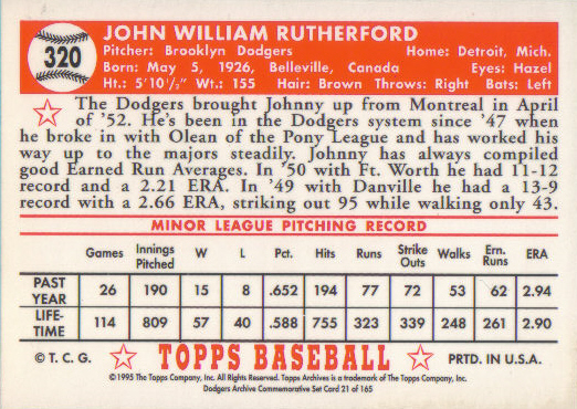 The back of Rutherford's 1995 Topps Archives card.