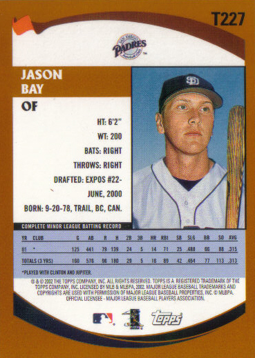 The back of Jason Bay's 2002 Topps card. Bay, a Trail, B.C.  native who has belted 220 home runs in his big league career, will become the fourth player added to Baseball Canada's Wall of Excellence in January.