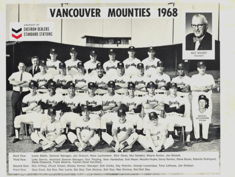 Team photo of the 1968 Vancouver Mounties. (Courtesy of Joe Nossek).