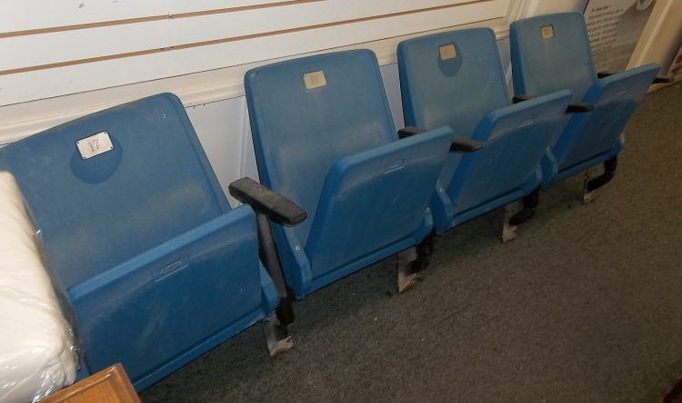 Four of the seats from Exhibition Stadium that the Canadian Baseball Hall of Fame is now selling exclusively. (Photo courtesy of Canadian Baseball Hall of Fame)