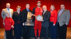 A group of Canadian Baseball Hall of Fame representatives presented Joey Votto with the Canadian ball hall's Tip O'Neill Award prior to the Reds' game in Cincinnati on Wednesday. (Photo: Courtesy  of Canadian Baseball Hall of Fame)