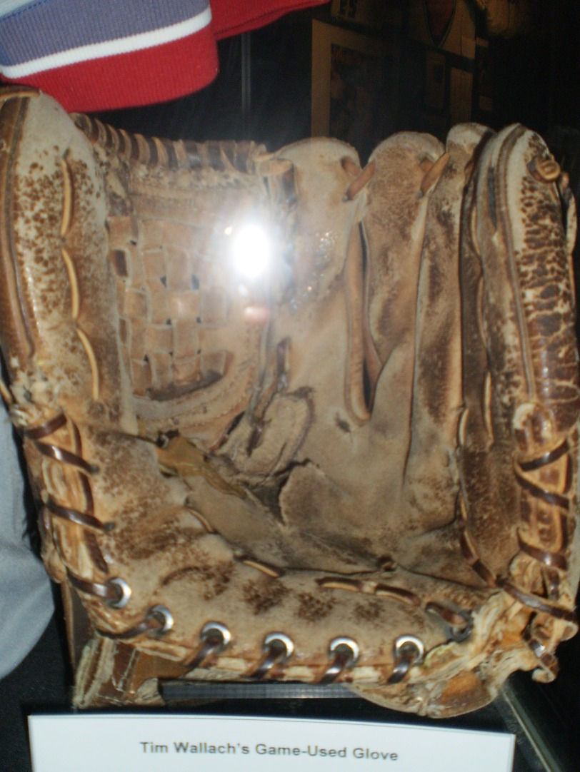 This beast of a glove was used in games by Tim Wallach. I can't believe how ragged and small it is, especially for a Gold Glove third baseman.