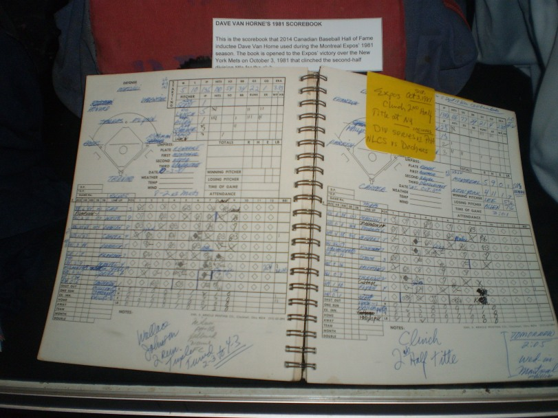 "One of the coolest things that the museum received from Expos broadcasting legend was his 1981 scorebook. Van Horne had flagged two pages in it: the second-half division-clinching game and ""Blue Monday."""