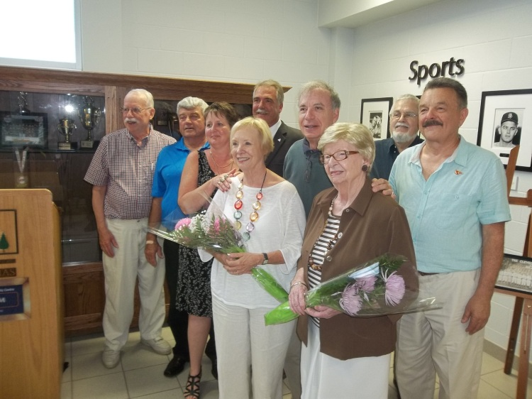 Jack Graney's daughter, Margot Graney Mudd (front row right) and granddaughter, Perry Mudd Smith fron row left) are pictured here with family members and members of the 'Graney Gang.' (Photo: Scott Crawford, Canadian Baseball Hall of Fame)