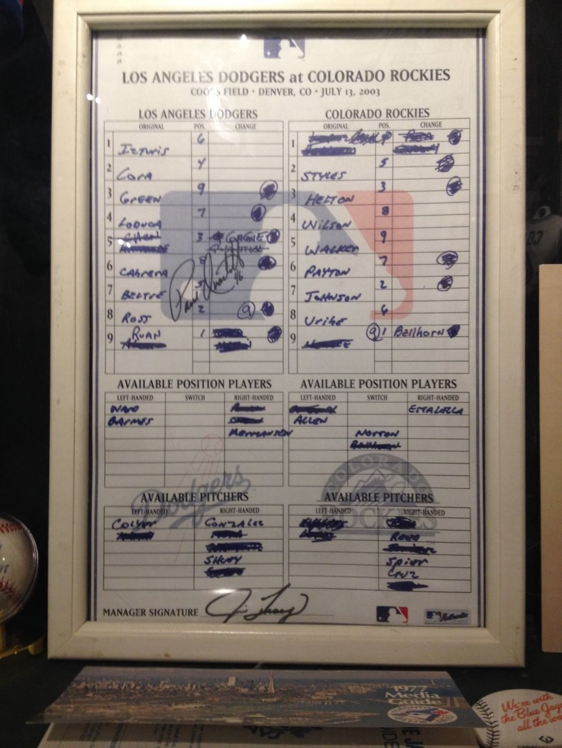 Official lineup card from Paul Quantrill's recordbreaking 665th big league pitching appearance.