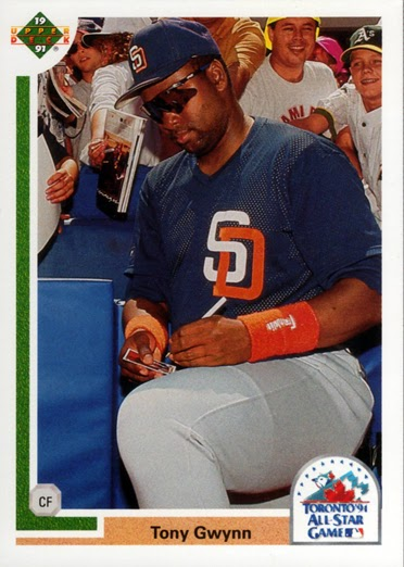 This 1991 Upper Deck card shows Tony Gwynn signing autographs at the SkyDome in Toronto before the 1991 MLB all-star game.